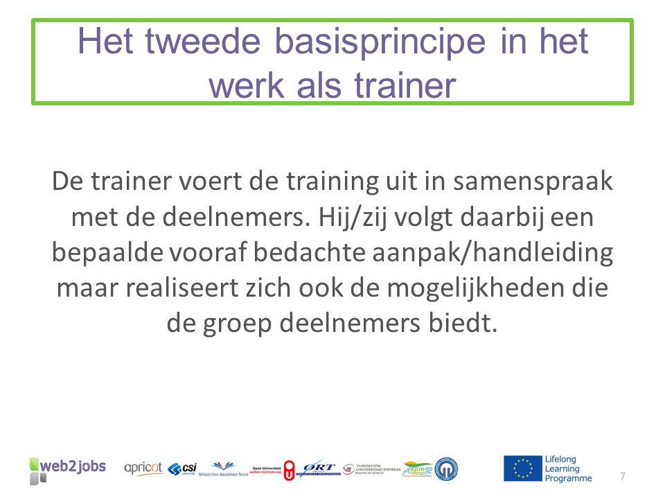 Het tweede basisprincipe in het werk als trainer De trainer voert de training uit in samenspraak met de deelnemers. Hij/zij volgt daarbij een bepaalde