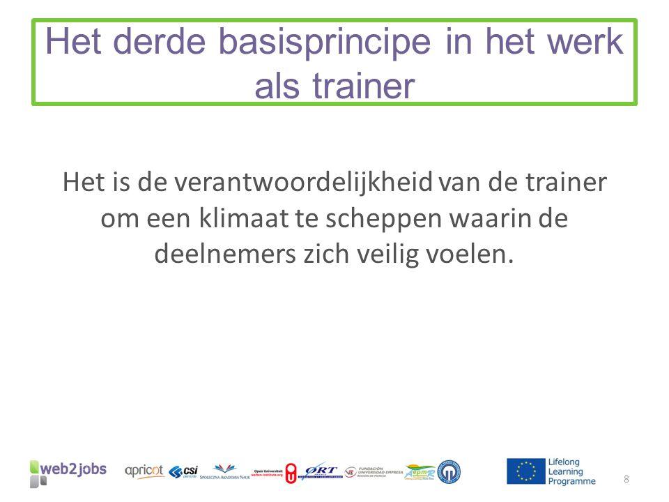 Het derde basisprincipe in het werk als trainer Het is de verantwoordelijkheid van de trainer om een klimaat te scheppen waarin de deelnemers zich veilig voelen.