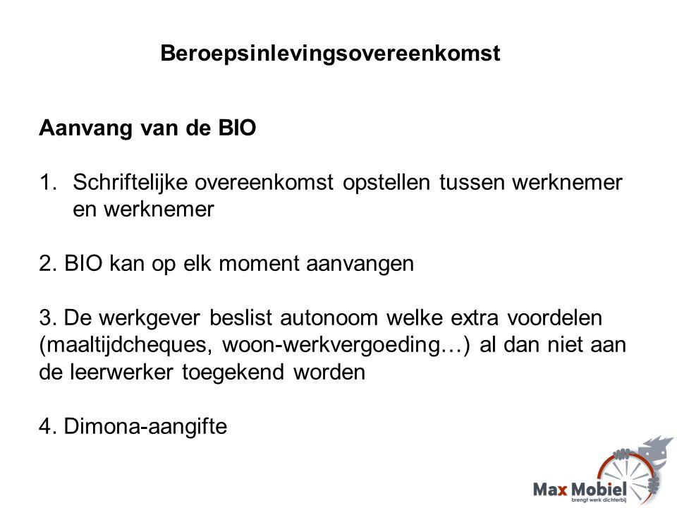 Aanvang van de BIO 1.Schriftelijke overeenkomst opstellen tussen werknemer en werknemer 2.BIO kan op elk moment aanvangen 3.
