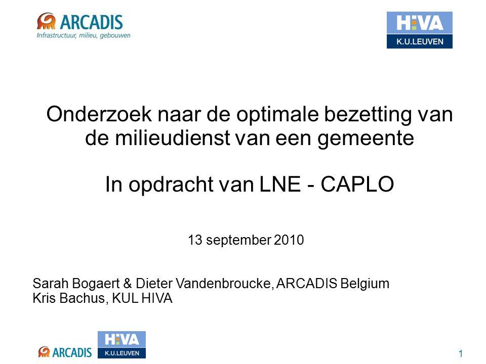 1 13 september 2010 Sarah Bogaert & Dieter Vandenbroucke, ARCADIS Belgium Kris Bachus, KUL HIVA Onderzoek naar de optimale bezetting van de milieudienst van een gemeente In opdracht van LNE - CAPLO