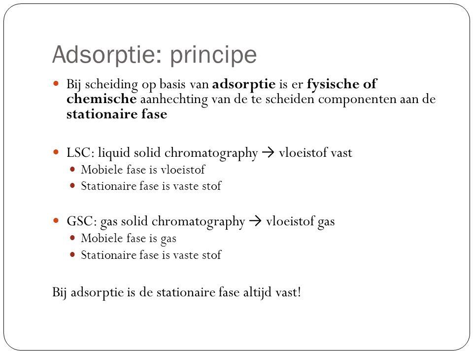 Adsorptie: interacties Interacties van verbindingen met de stationaire fase: Waterstofbindingen: redelijk stevige tijdelijke bindingen Stoffen die H-bruggen kunnen maken worden vertraagd Dipoolkrachten: tussen polair oppervlak en polaire componenten.