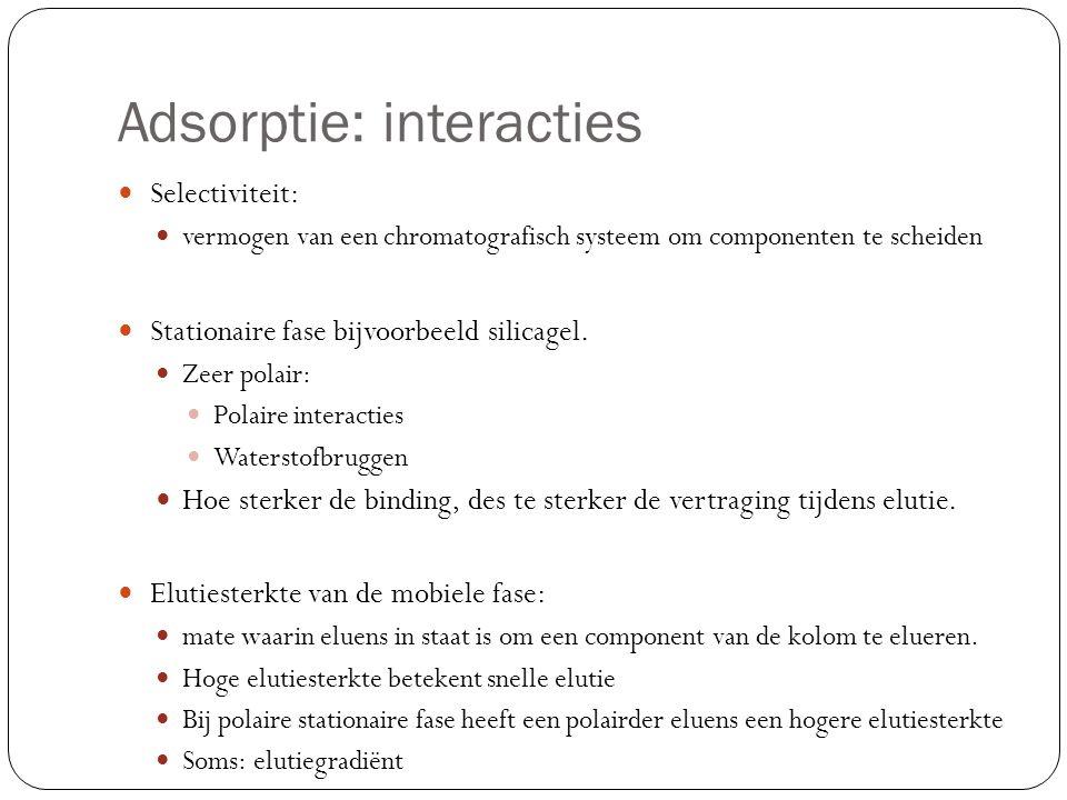 Adsorptie: interacties Selectiviteit: vermogen van een chromatografisch systeem om componenten te scheiden Stationaire fase bijvoorbeeld silicagel. Ze