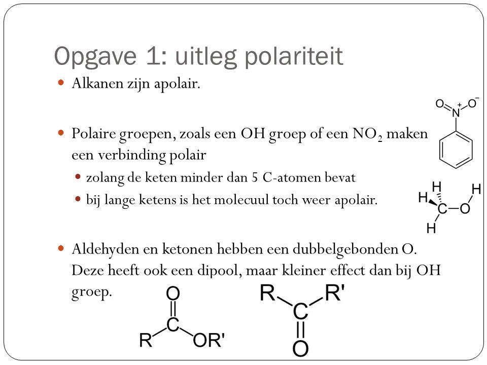 Opgave 1: uitleg polariteit Alkanen zijn apolair. Polaire groepen, zoals een OH groep of een NO 2 maken een verbinding polair zolang de keten minder d