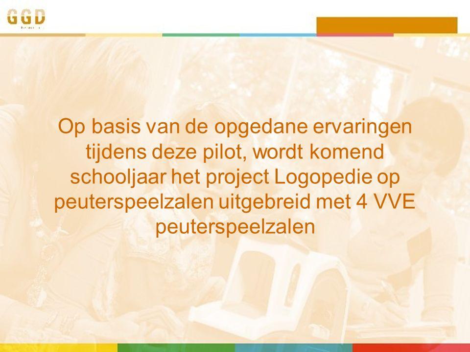 Op basis van de opgedane ervaringen tijdens deze pilot, wordt komend schooljaar het project Logopedie op peuterspeelzalen uitgebreid met 4 VVE peuterspeelzalen