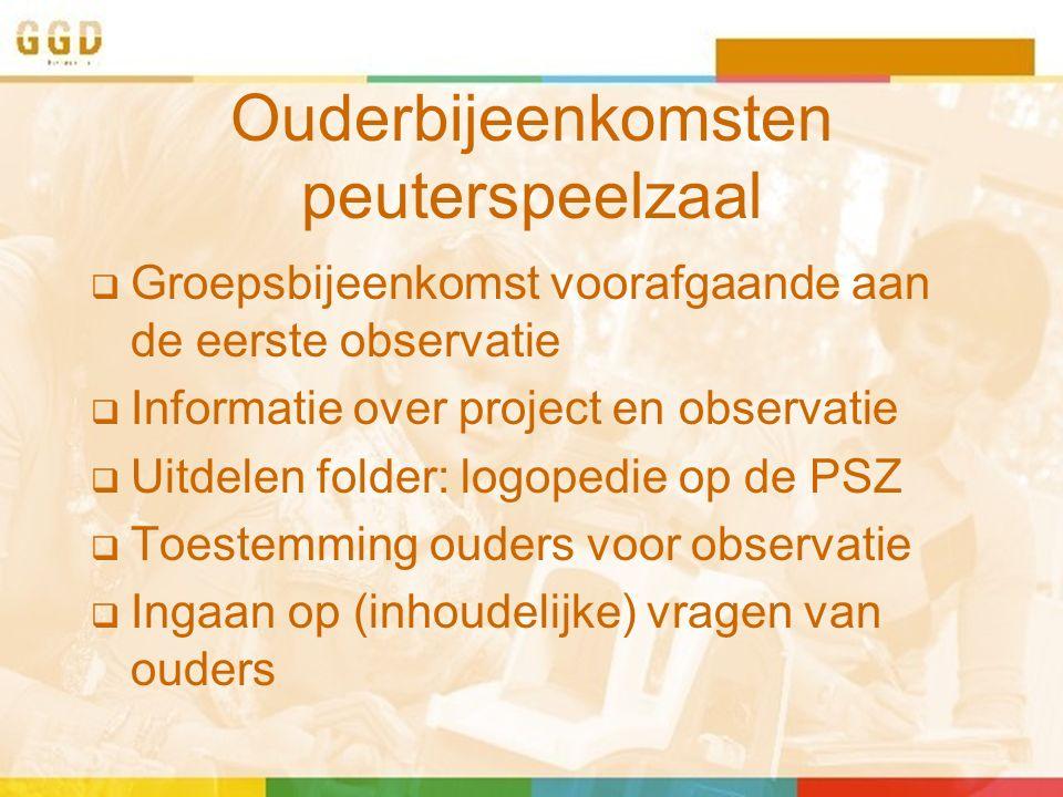 Ouderbijeenkomsten peuterspeelzaal  Groepsbijeenkomst voorafgaande aan de eerste observatie  Informatie over project en observatie  Uitdelen folder