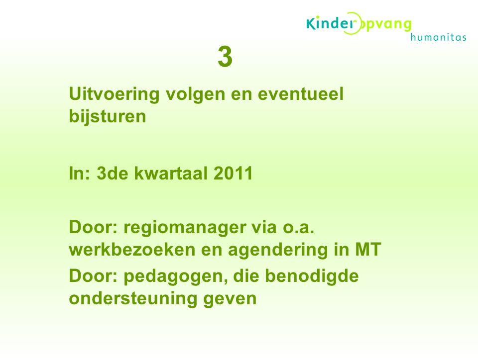 Uitvoering volgen en eventueel bijsturen In: 3de kwartaal 2011 Door: regiomanager via o.a.