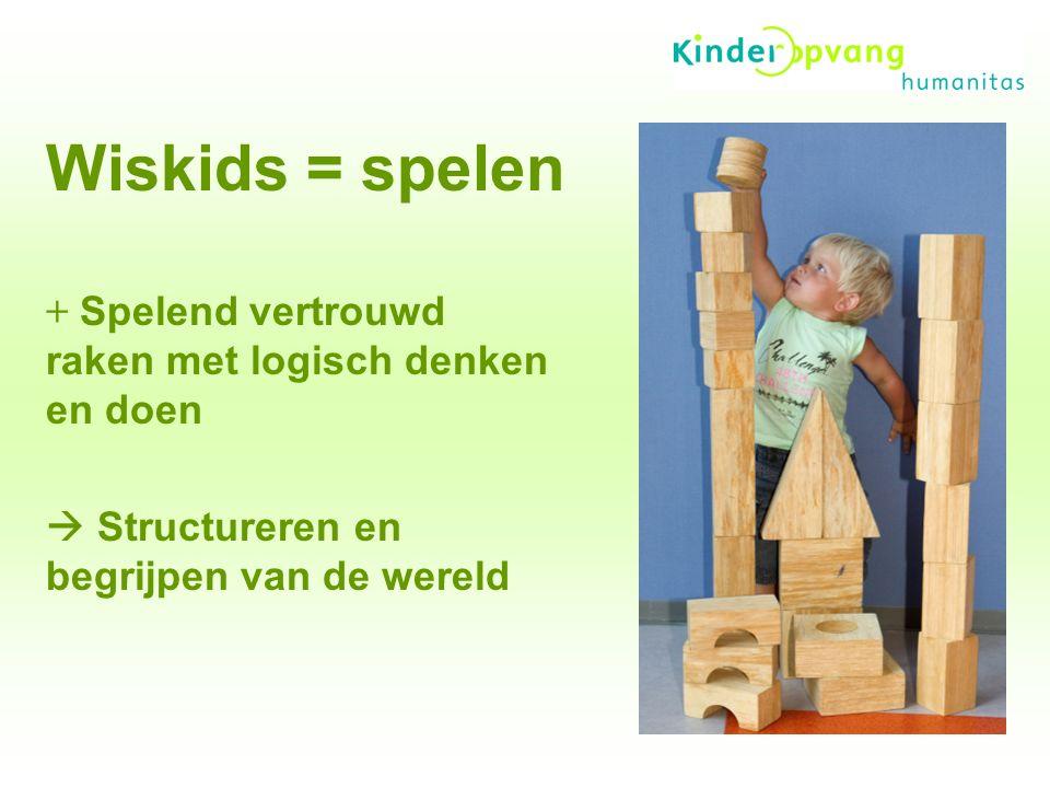 Wiskids = spelen + Spelend vertrouwd raken met logisch denken en doen  Structureren en begrijpen van de wereld