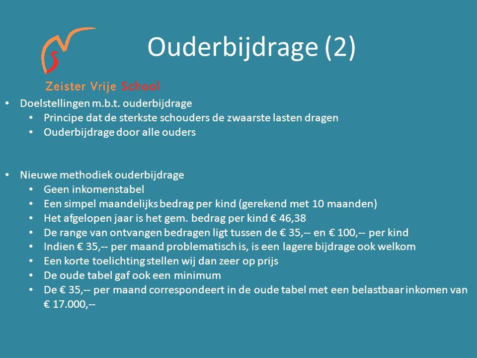 Ouderbijdrage (2) Doelstellingen m.b.t.