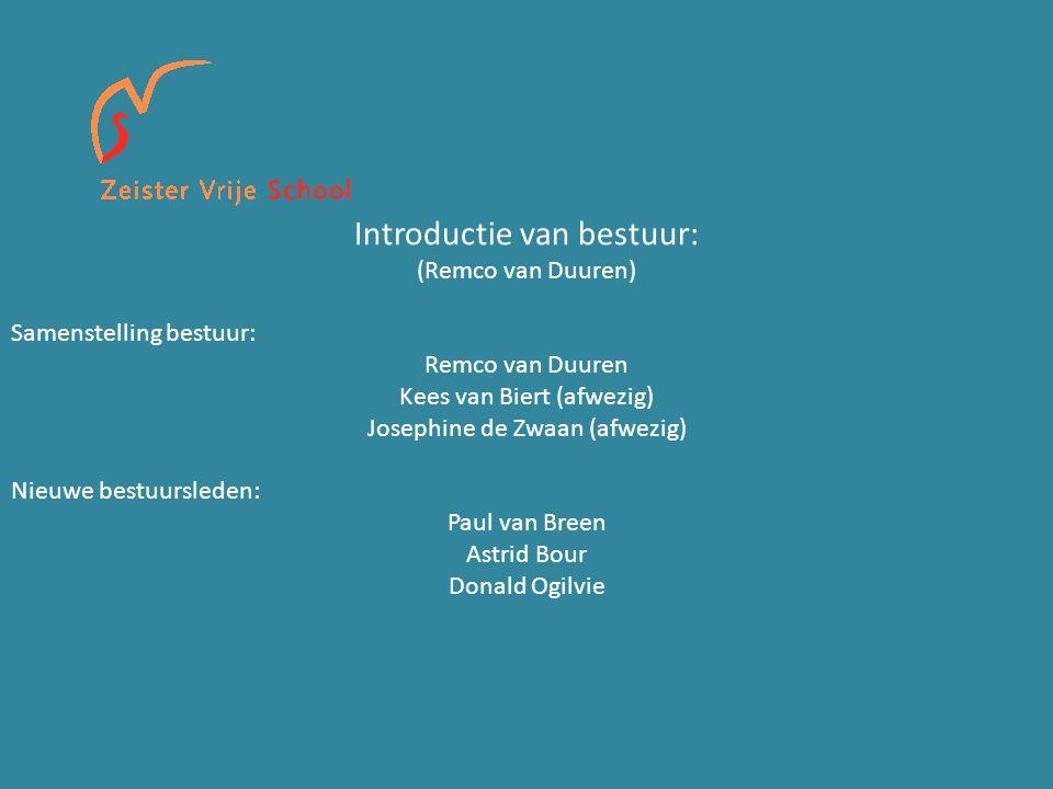 Introductie van bestuur: (Remco van Duuren) Samenstelling bestuur: Remco van Duuren Kees van Biert (afwezig) Josephine de Zwaan (afwezig) Nieuwe bestuursleden: Paul van Breen Astrid Bour Donald Ogilvie