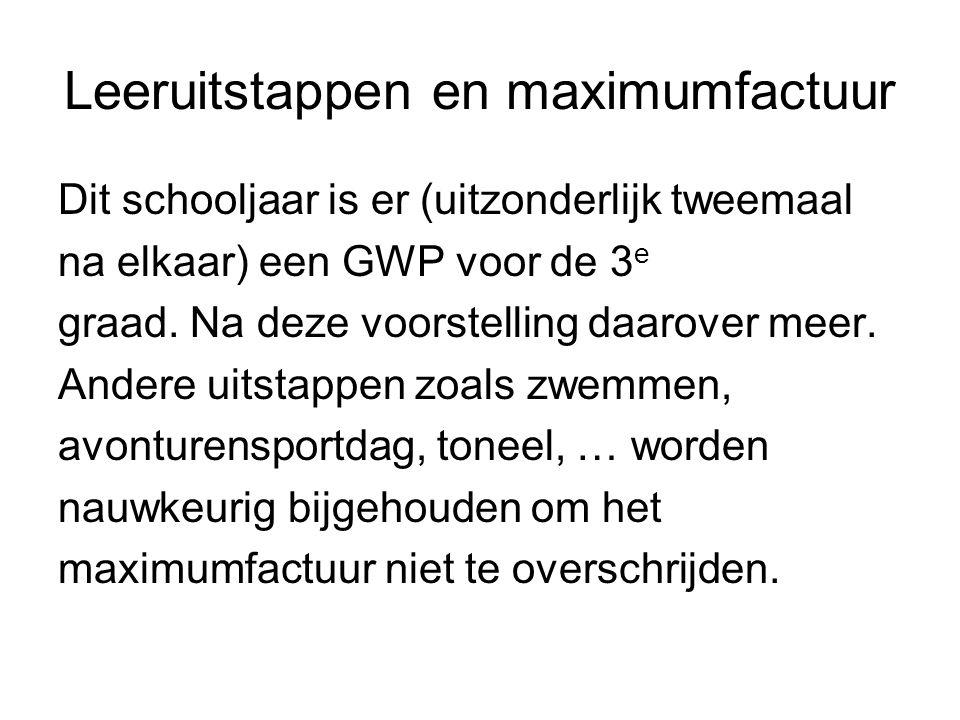Leeruitstappen en maximumfactuur Dit schooljaar is er (uitzonderlijk tweemaal na elkaar) een GWP voor de 3 e graad.