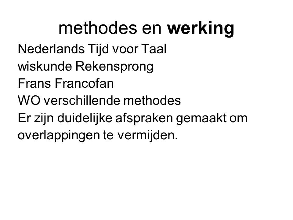 methodes en werking Nederlands Tijd voor Taal wiskunde Rekensprong Frans Francofan WO verschillende methodes Er zijn duidelijke afspraken gemaakt om overlappingen te vermijden.
