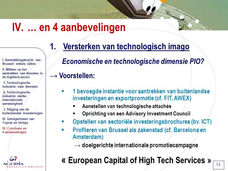 13 1.Versterken van technologisch imago Economische en technologische dimensie PIO.