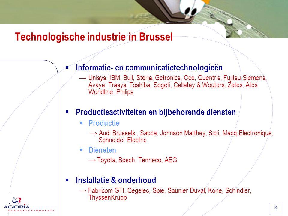 4 International Brussels I.Aantrekkingskracht van Brussel: enkele cijfers II.Mikken op het aantrekken van diensten in de hightech-sector 1.Technologische industrie: naar de diensten 2.Technologische industrie: sterke internationale aanwezigheid 3.Toenemende buitenlandse investeringen III.Getuigenissen van Toyota en Unisys IV.Conclusie en 4 aanbevelingen Mikken op het aantrekken van diensten in de hightech-sector