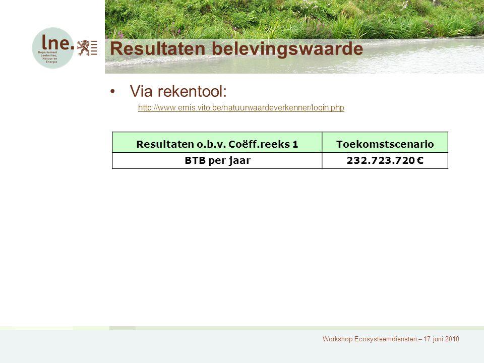 Workshop Ecosysteemdiensten – 17 juni 2010 Resultaten belevingswaarde Via rekentool: http://www.emis.vito.be/natuurwaardeverkenner/login.php Resultate