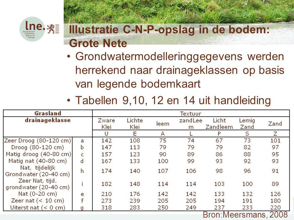 Workshop Ecosysteemdiensten – 17 juni 2010 Illustratie C-N-P-opslag in de bodem: Grote Nete Grondwatermodelleringgegevens werden herrekend naar draina