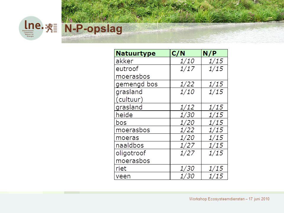 Workshop Ecosysteemdiensten – 17 juni 2010 N-P-opslag