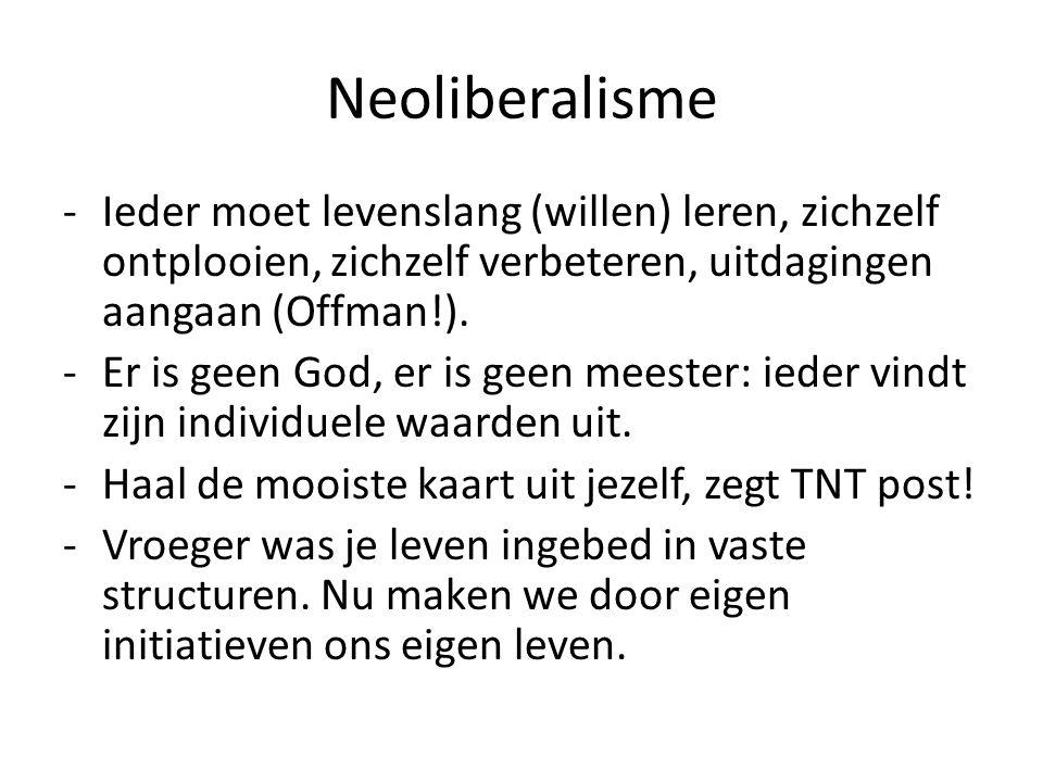 Neoliberalisme -Ieder moet levenslang (willen) leren, zichzelf ontplooien, zichzelf verbeteren, uitdagingen aangaan (Offman!). -Er is geen God, er is