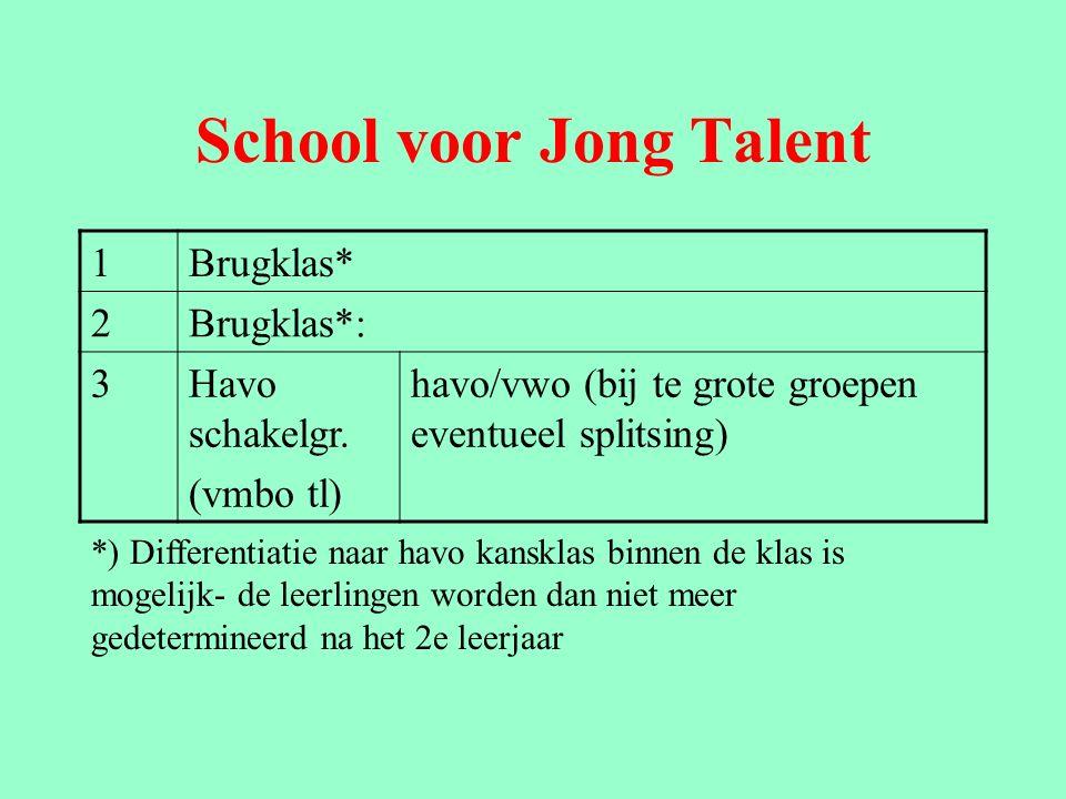 School voor Jong Talent 1Brugklas* 2Brugklas*: 3Havo schakelgr.