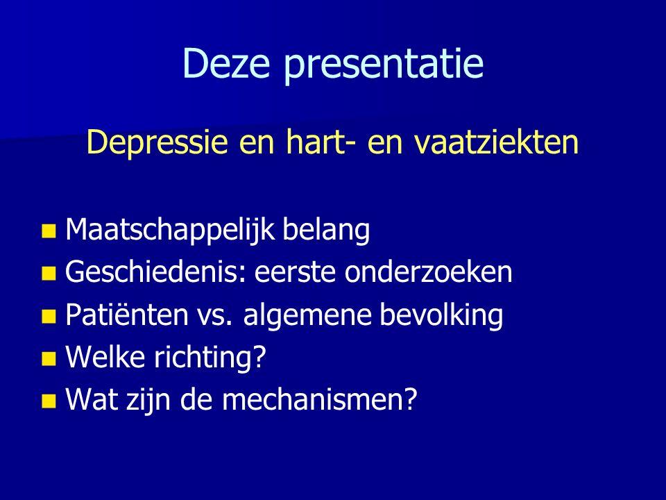 HVZ als risicofactor voor depressie Post-MI of post-stroke depressie: – –prevalentie van depressie is verhoogd in HVZ patiënten t.o.v.