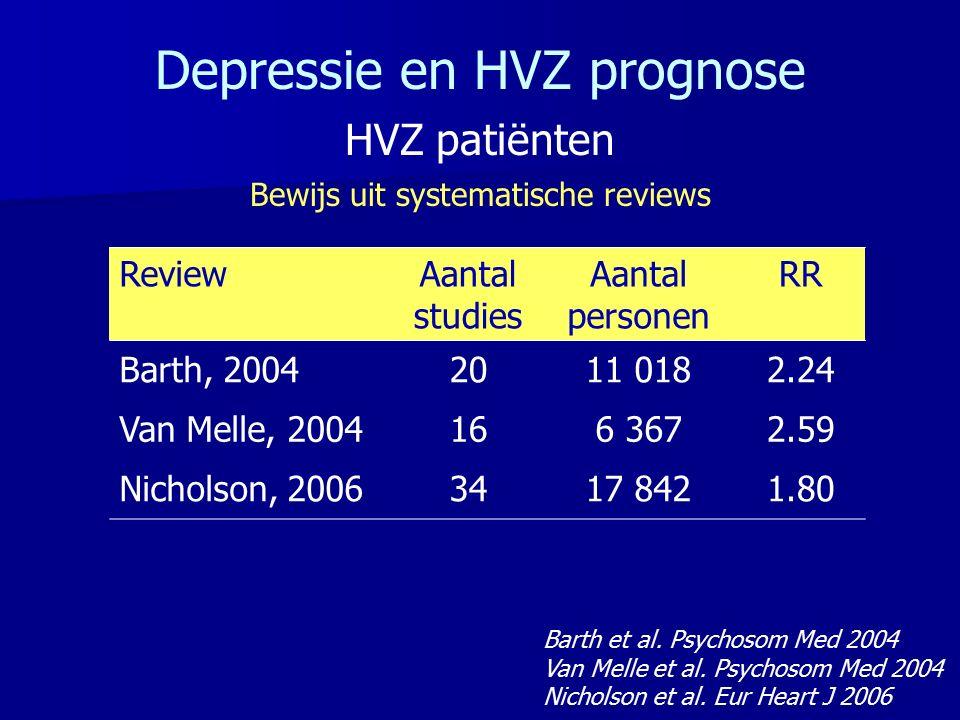 ReviewAantal studies Aantal personen RR Barth, 20042011 0182.24 Van Melle, 2004166 3672.59 Nicholson, 20063417 8421.80 Barth et al. Psychosom Med 2004