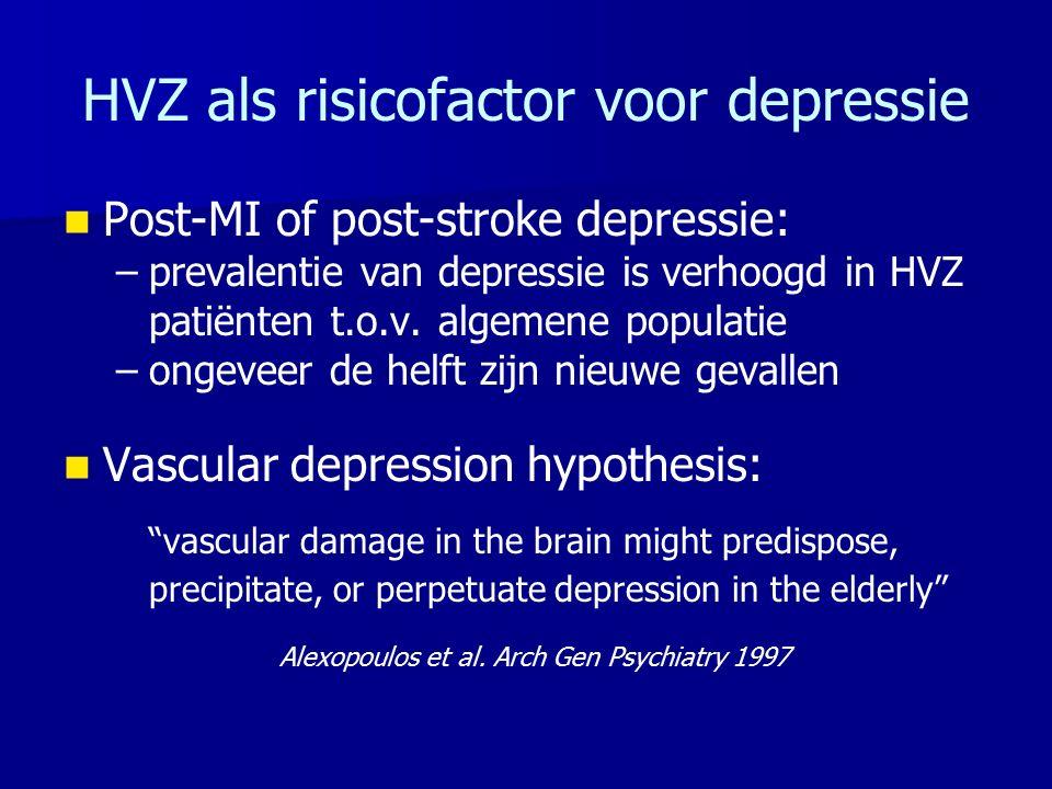 HVZ als risicofactor voor depressie Post-MI of post-stroke depressie: – –prevalentie van depressie is verhoogd in HVZ patiënten t.o.v. algemene popula
