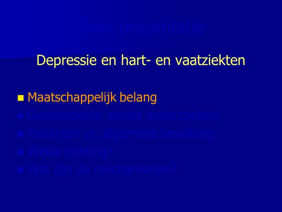 5.1 10.5 3.4 3.8 1.6 Risico op sterfte door HVZ wel geen Depressie major Depression and Cardiac Mortality Penninx et al.