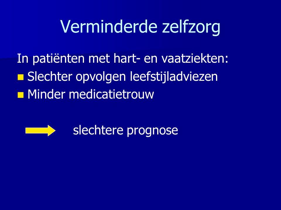 Verminderde zelfzorg In patiënten met hart- en vaatziekten: Slechter opvolgen leefstijladviezen Minder medicatietrouw slechtere prognose