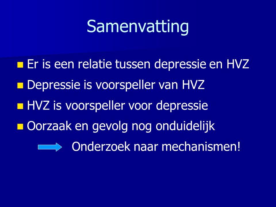 Samenvatting Er is een relatie tussen depressie en HVZ Depressie is voorspeller van HVZ HVZ is voorspeller voor depressie Oorzaak en gevolg nog onduidelijk Onderzoek naar mechanismen!