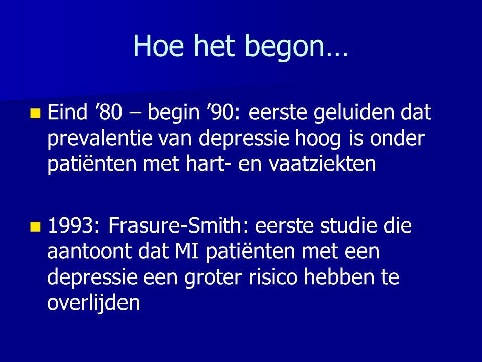 Hoe het begon… Eind '80 – begin '90: eerste geluiden dat prevalentie van depressie hoog is onder patiënten met hart- en vaatziekten 1993: Frasure-Smit