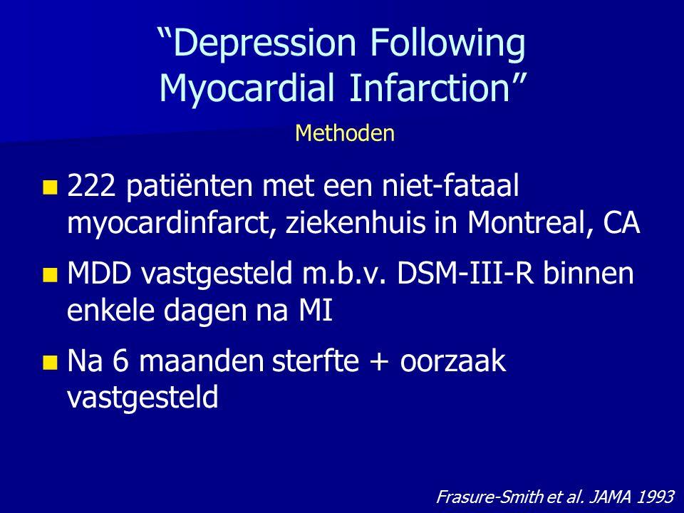 """""""Depression Following Myocardial Infarction"""" 222 patiënten met een niet-fataal myocardinfarct, ziekenhuis in Montreal, CA MDD vastgesteld m.b.v. DSM-I"""