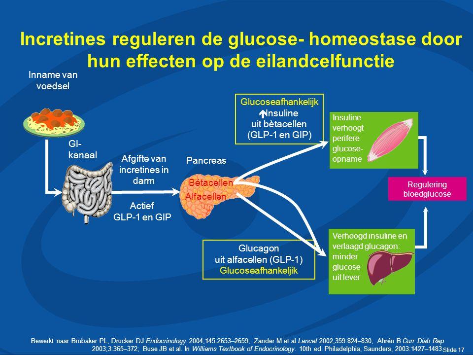 Slide 17 GI- kanaal Bewerkt naar Brubaker PL, Drucker DJ Endocrinology 2004;145:2653–2659; Zander M et al Lancet 2002;359:824–830; Ahrén B Curr Diab Rep 2003;3:365–372; Buse JB et al.