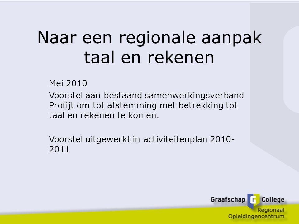 Naar een regionale aanpak taal en rekenen Mei 2010 Voorstel aan bestaand samenwerkingsverband Profijt om tot afstemming met betrekking tot taal en rekenen te komen.