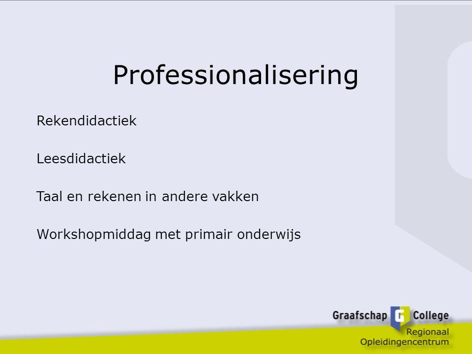 Professionalisering Rekendidactiek Leesdidactiek Taal en rekenen in andere vakken Workshopmiddag met primair onderwijs