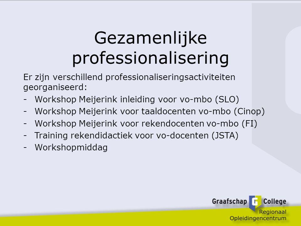 Gezamenlijke professionalisering Er zijn verschillend professionaliseringsactiviteiten georganiseerd: -Workshop Meijerink inleiding voor vo-mbo (SLO) -Workshop Meijerink voor taaldocenten vo-mbo (Cinop) -Workshop Meijerink voor rekendocenten vo-mbo (FI) -Training rekendidactiek voor vo-docenten (JSTA) -Workshopmiddag