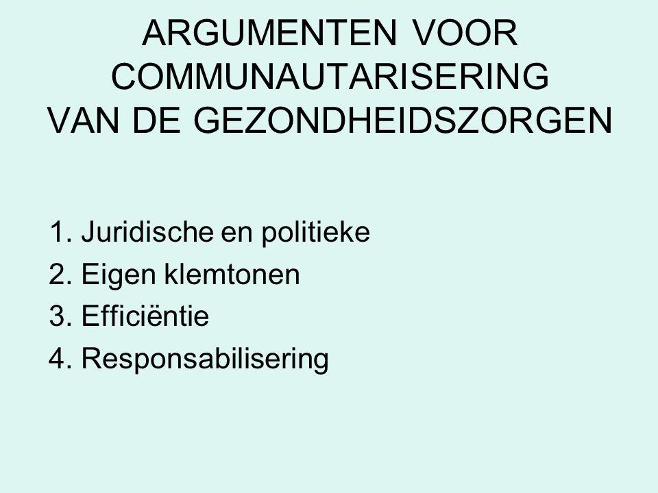 ARGUMENTEN VOOR COMMUNAUTARISERING VAN DE GEZONDHEIDSZORGEN 1.