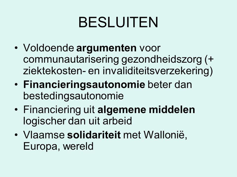 BESLUITEN Voldoende argumenten voor communautarisering gezondheidszorg (+ ziektekosten- en invaliditeitsverzekering) Financieringsautonomie beter dan bestedingsautonomie Financiering uit algemene middelen logischer dan uit arbeid Vlaamse solidariteit met Wallonië, Europa, wereld