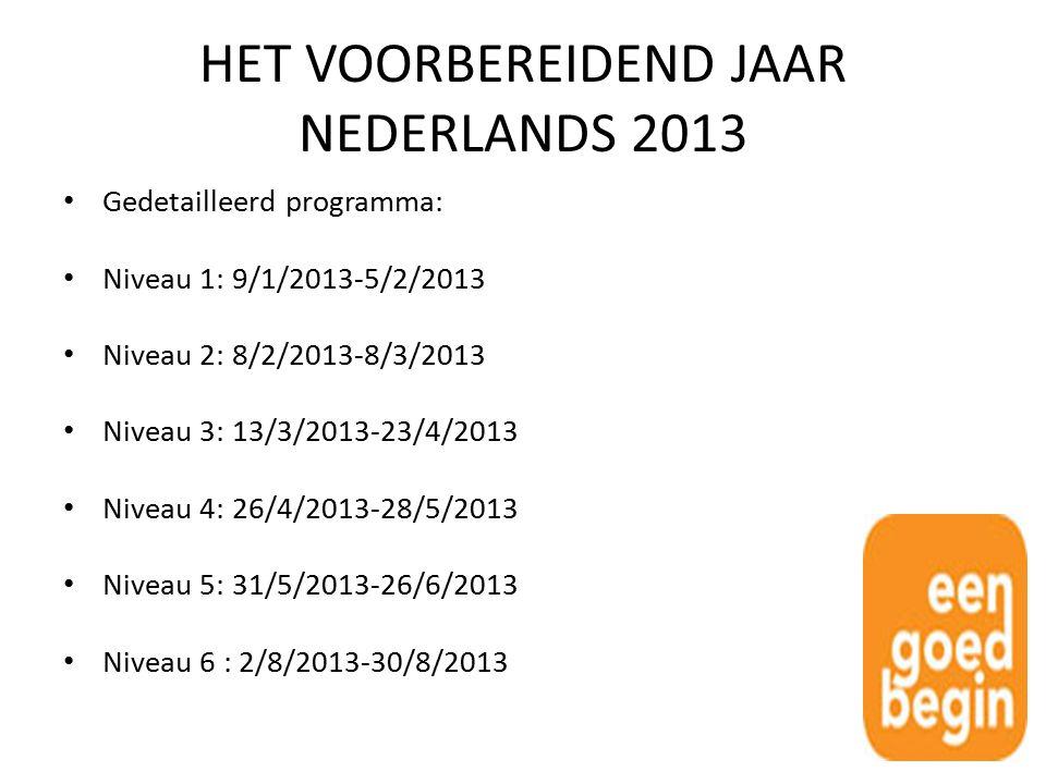 HET VOORBEREIDEND JAAR NEDERLANDS 2013 Gedetailleerd programma: Niveau 1: 9/1/2013-5/2/2013 Niveau 2: 8/2/2013-8/3/2013 Niveau 3: 13/3/2013-23/4/2013 Niveau 4: 26/4/2013-28/5/2013 Niveau 5: 31/5/2013-26/6/2013 Niveau 6 : 2/8/2013-30/8/2013