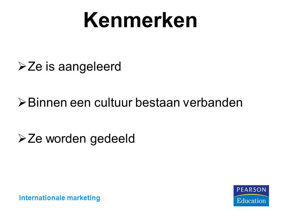 Kenmerken  Ze is aangeleerd  Binnen een cultuur bestaan verbanden  Ze worden gedeeld Internationale marketing