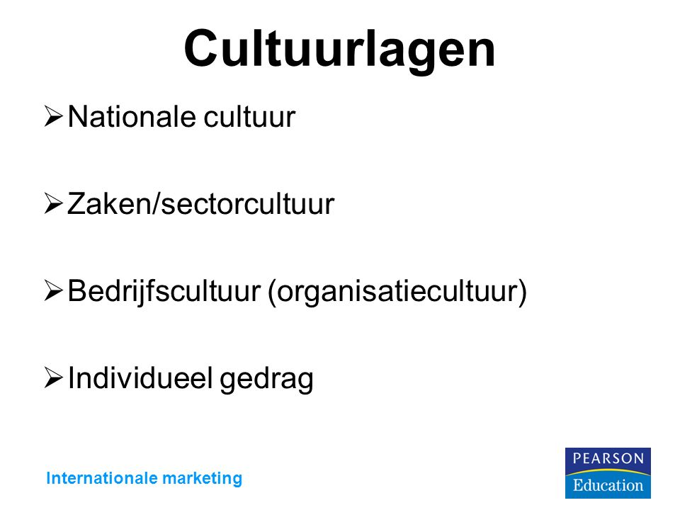 Cultuurlagen  Nationale cultuur  Zaken/sectorcultuur  Bedrijfscultuur (organisatiecultuur)  Individueel gedrag Internationale marketing