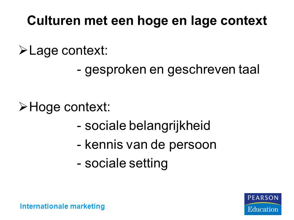 Culturen met een hoge en lage context  Lage context: - gesproken en geschreven taal  Hoge context: - sociale belangrijkheid - kennis van de persoon