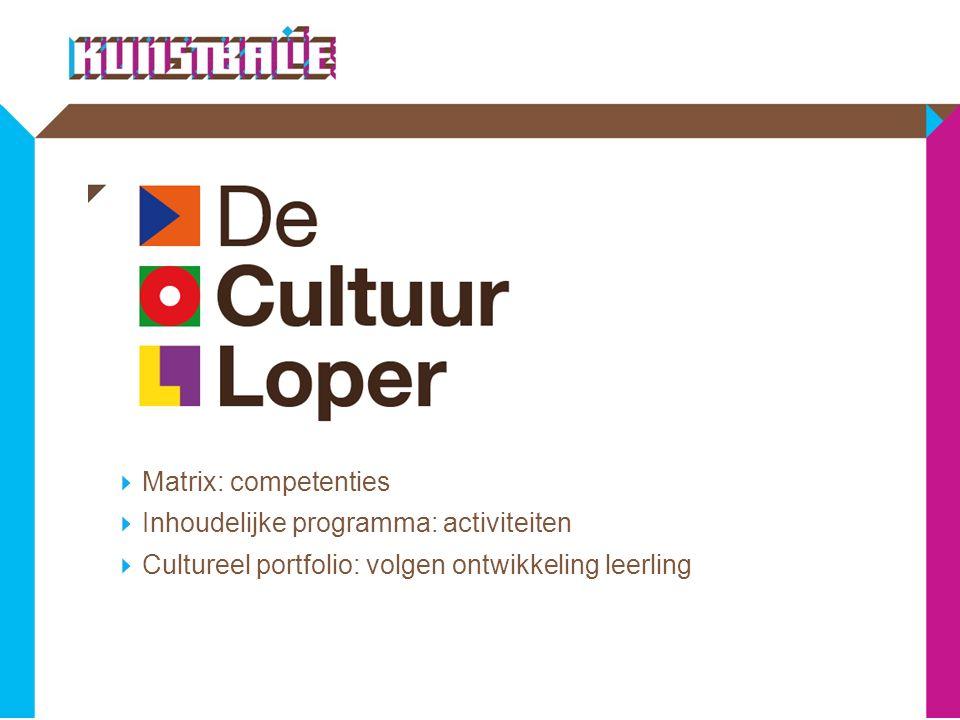  Matrix: competenties  Inhoudelijke programma: activiteiten  Cultureel portfolio: volgen ontwikkeling leerling