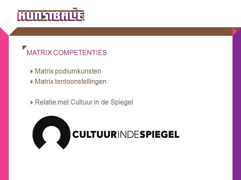 MATRIX COMPETENTIES  Matrix podiumkunsten  Matrix tentoonstellingen  Relatie met Cultuur in de Spiegel