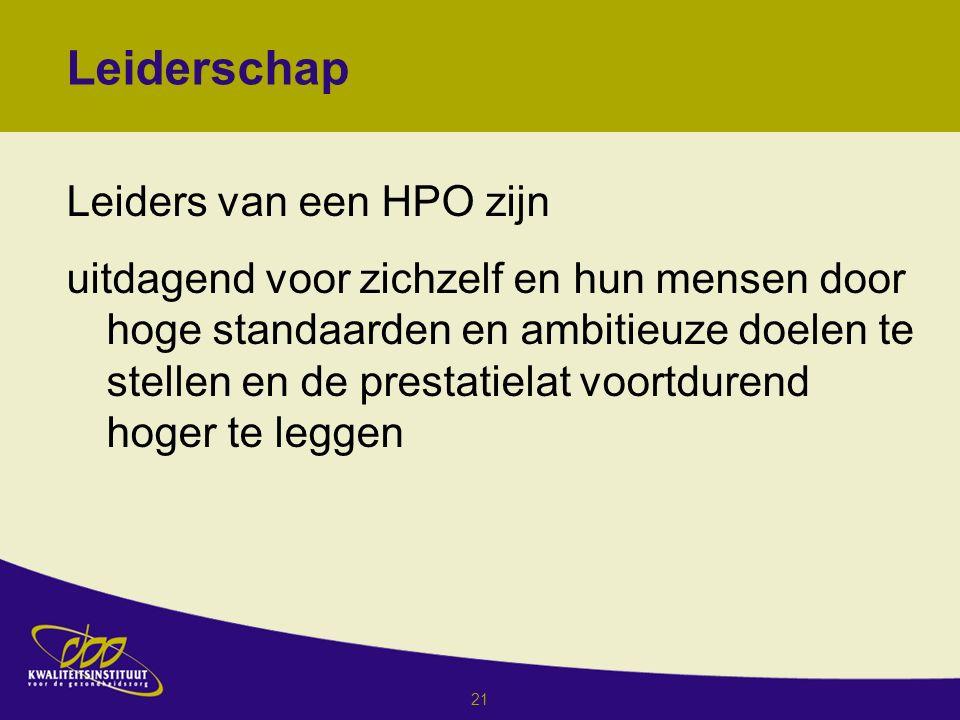 21 Leiderschap Leiders van een HPO zijn uitdagend voor zichzelf en hun mensen door hoge standaarden en ambitieuze doelen te stellen en de prestatielat voortdurend hoger te leggen