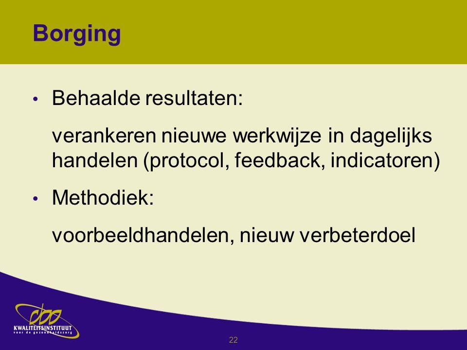 22 Behaalde resultaten: verankeren nieuwe werkwijze in dagelijks handelen (protocol, feedback, indicatoren) Methodiek: voorbeeldhandelen, nieuw verbeterdoel Borging