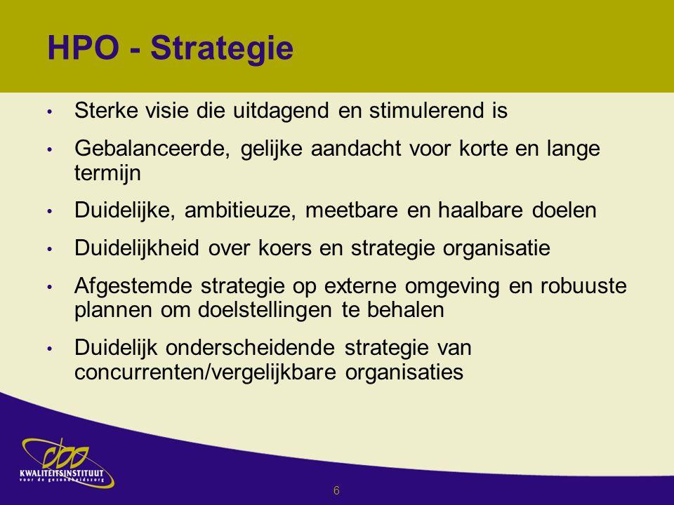 6 HPO - Strategie Sterke visie die uitdagend en stimulerend is Gebalanceerde, gelijke aandacht voor korte en lange termijn Duidelijke, ambitieuze, meetbare en haalbare doelen Duidelijkheid over koers en strategie organisatie Afgestemde strategie op externe omgeving en robuuste plannen om doelstellingen te behalen Duidelijk onderscheidende strategie van concurrenten/vergelijkbare organisaties