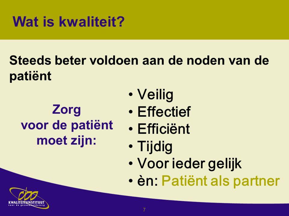 7 Veilig Effectief Efficiënt Tijdig Voor ieder gelijk èn: Patiënt als partner Wat is kwaliteit.