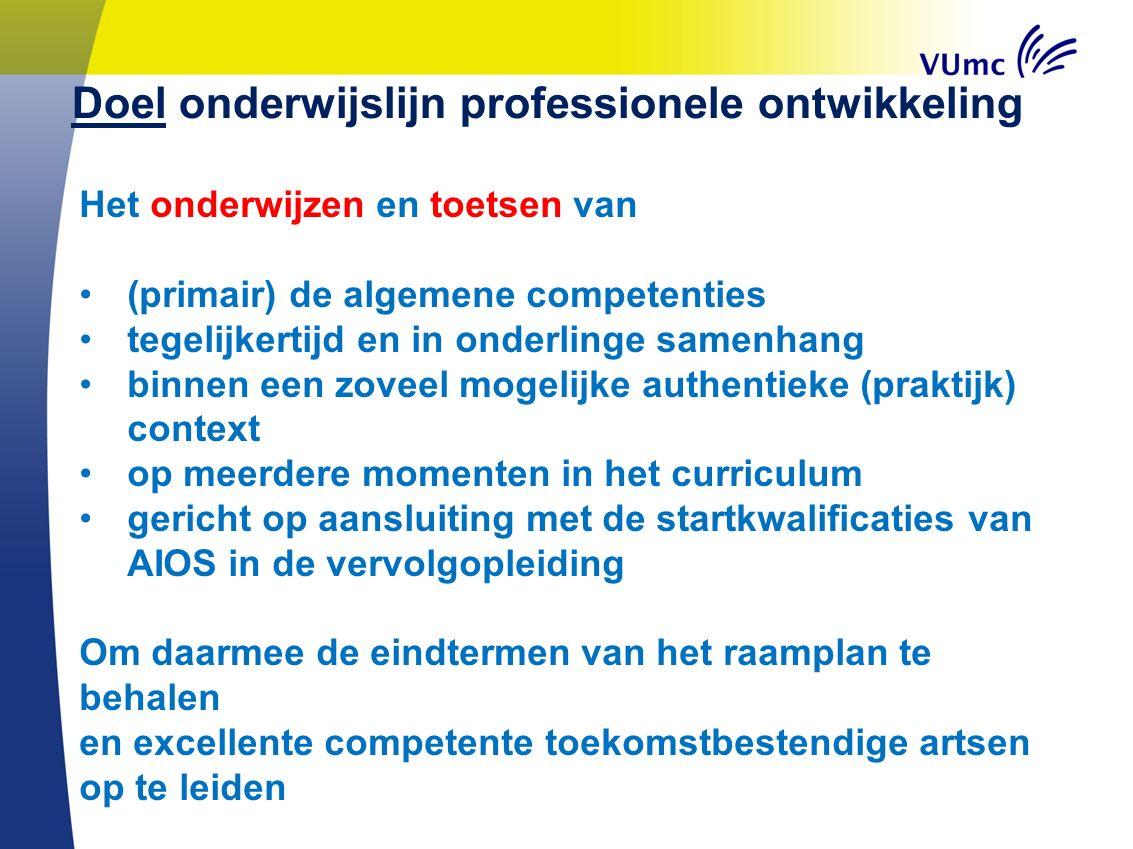Doel onderwijslijn professionele ontwikkeling Het onderwijzen en toetsen van (primair) de algemene competenties tegelijkertijd en in onderlinge samenh
