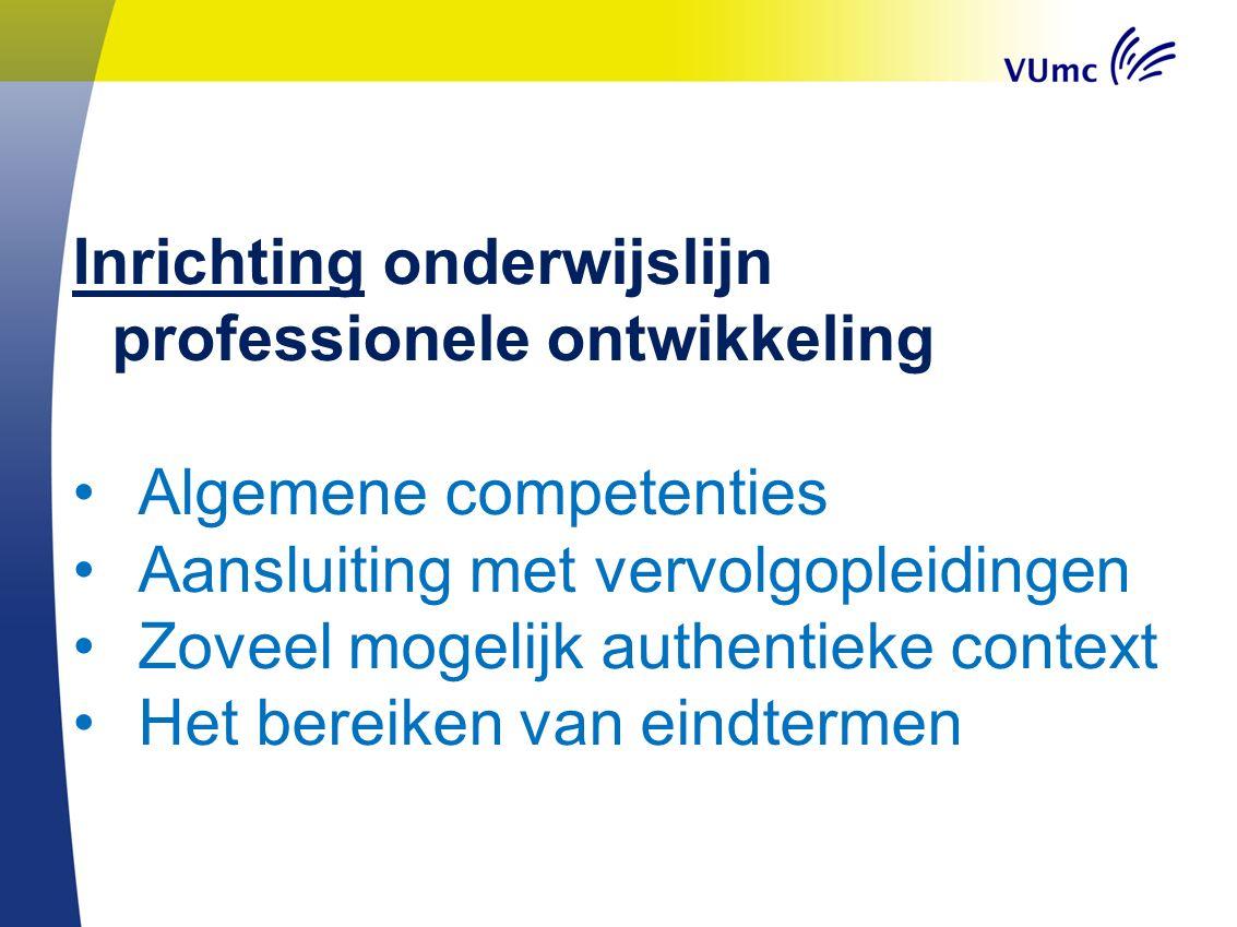 Inrichting onderwijslijn professionele ontwikkeling Algemene competenties Aansluiting met vervolgopleidingen Zoveel mogelijk authentieke context Het b
