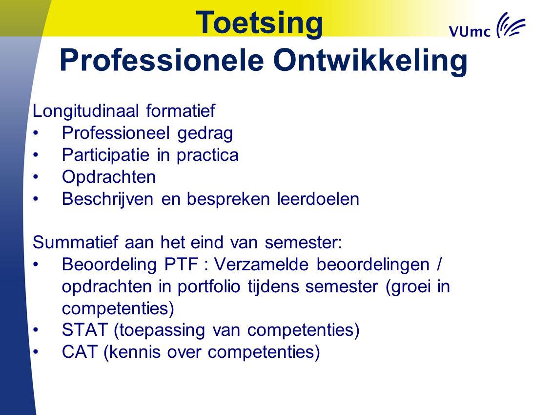 Toetsing Professionele Ontwikkeling Longitudinaal formatief Professioneel gedrag Participatie in practica Opdrachten Beschrijven en bespreken leerdoel