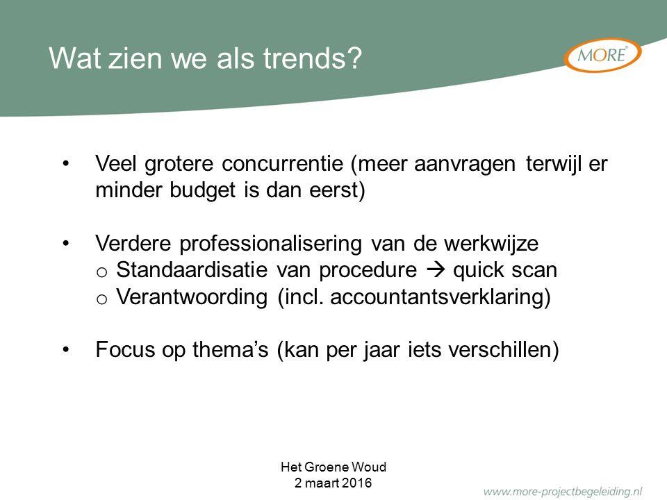 Veel grotere concurrentie (meer aanvragen terwijl er minder budget is dan eerst) Verdere professionalisering van de werkwijze o Standaardisatie van pr